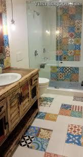 Patchwork Cement Tile Bathroom Floor Installation From Villa - Installing bathroom floor