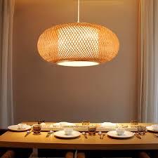 round hand knitted bamboo rattan pendant light cord fixture rustic asian japanese style tatami lamp luminaria dining table room globe pendant light light