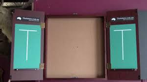 Dart Board Cabinet With Chalkboard New Dartboard Cabinet Mahogany Finish Youtube