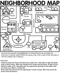 This neighborhood map can be used for teaching map skills to ...