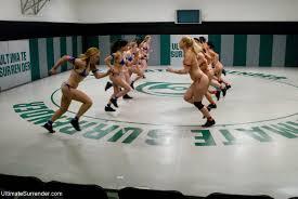 Group of 12 babes in hardcore lesbian gangbang wrestling orgy.
