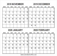 Blank November 2019 To February 2020 Calendar Jpg Png
