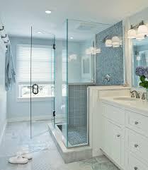 bathroom glass tile shower. blue glass shower tiles, transitional, bathroom, donna elle interior design bathroom tile