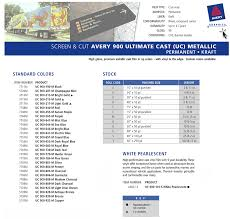 Avery 900 Supercast Colour Chart Avery 900 Ultimate Cast Metallic Film American Sign Products