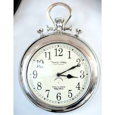 pocket watch wall clock large silver red with chain