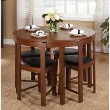 Image is loading 5-Piece-Dining-Table-Set-Oak-Wood-Kitchen- 5 Piece Dining Table Set Oak Wood Kitchen Room 4 Chairs Compact