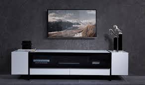 nova domus lorena modern tv stand in white  gun metal black