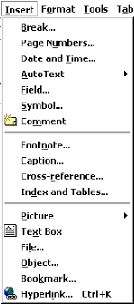 microsoft word menus insert format and font menu items in microsoft word