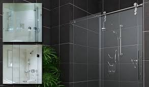 image of frameless sliding glass shower door bottom guide