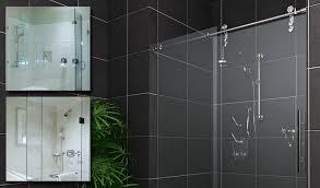 image of frameless sliding glass shower door bottom guide