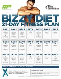 Workout Chart For Weight Gain Bodybuilding Com The Bizzy Diet 21 Day Fitness Plan