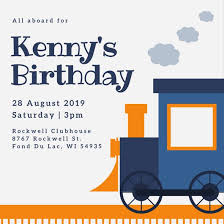 children party invitation templates blue and orange train theme kids party invitation templates by canva
