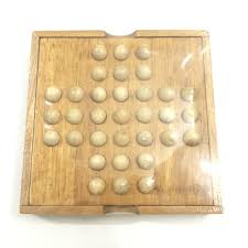 Wooden Peg Solitaire Game Creative IQ Test Peg Solitaire Solo Noble Puzzles Single Board 55