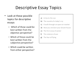 week  descriptive essay