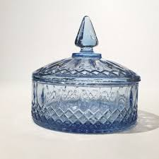 vintage indiana glass princess candy dish blue glass covered ca