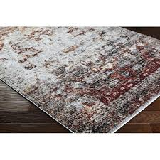 red white area rug gray main