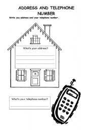 Telephone Number For Address Learning Address And Phone Number Worksheet Address Students Are