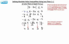 solving absolute value inequalities using less than or less than or equal to 1