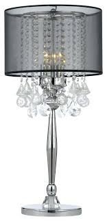 silver mist 3 light chrome crystal table lamp with black shade regarding attractive household lights prepare