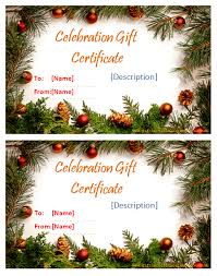 Holiday Gift Card Template Holiday Gift Certificate Templates Certificate Templates