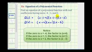ex 1 find a degree 3 polynomial function given integer zeros