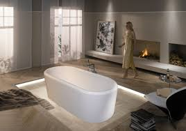Bathroom:Minimalist Bathroom Design With Gas Fireplace And Small White Bathtub  Decor Ideas Intresting Bathroom