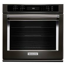 kitchenaid self cleaning convection single electric wall oven fingerprint resistant black stainless with printshield common 30 in actual 30 in