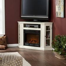 white corner electric fireplace entertainment center
