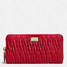 COACH f49609 MADISON ACCORDION ZIP WALLET IN GATHERED TWIST LEATHER  IMITATION GOLD CLASSIC RED