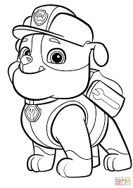 Psi Patrol Rubble Super Coloring Kids Paw Patrol Coloring