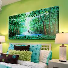 Living Room Oil Paintings Hand Made Oil Painting Green Tree Modern Palette Knife Paintings
