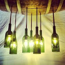 green wine bottle and barrel chandelier for modern design of home lighting with wine bottle light