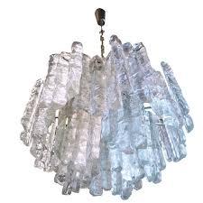 large j t kalmar murano ice glass chandelier ceiling lamp austria 1960s for