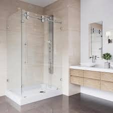 vigo winslow 48 13 in x 79 88 in frameless bypass shower enclosure in stainless steel and