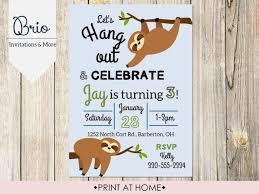 Photo Party Invitations Printable Sloth Birthday Party Invitation In 2019 Birthday