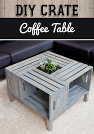 Image Diy Pallet 1 Four Crate Coffee Table And Planter Homebnc 45 Best Diy Living Room Decorating Ideas And Designs For 2019