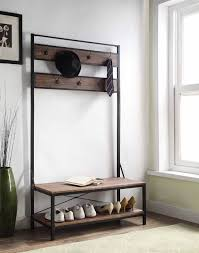 Traditional Coat Rack Decor Traditional Dark Brown Entryway Shoe Bench With Coat Rack 86