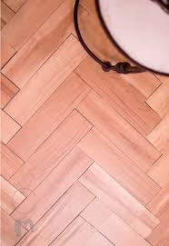 diy temporary herringbone wood floor final results