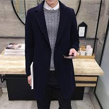 gray winter mens fit stylish trench coat thick double ted long