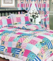 details about vintage blue pink fl patchwork duvet set in double king superking curtains