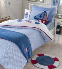 boys bedding bed linen gingham boats duvet cover or curtains or 5pc set