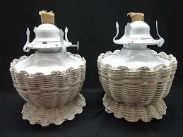 pair of oil kerosene lamps lamplight farms white wicker