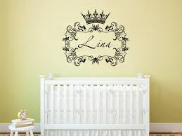 crown princess frame custom wall decals personalized girls name decor nursery baby room art vinyl murals on personalized wall decor for nursery with crown princess frame custom wall decals personalized girls name