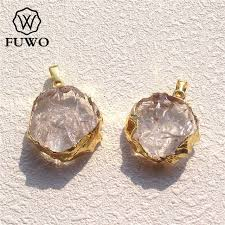 fuwo natural crystal quartz slice pendant 24k electroplated high quality round clear crystal healing stone jewelry