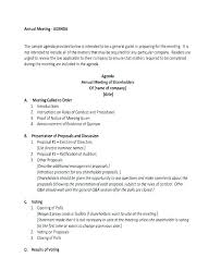 Business Meeting Agenda Template Sample For Meetings Samples Yakult Co