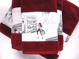 eiffel tower bathroom decor  paris towels red hand towels paris girls bathroom towels