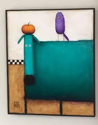 teal dog with bird original painting 20 24