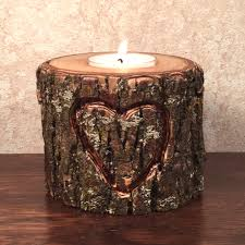 Heart Hand Carved Wood TeaLight Candle Holder