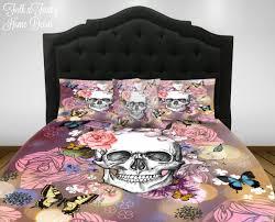 skull bedding duvet cover set sugar skull comforter option twin full queen king bedding binkys garden fl erflies