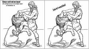 Kleurplaat Simson En Delila Simson Vecht Met Een Leeuw Puzzel Zoek